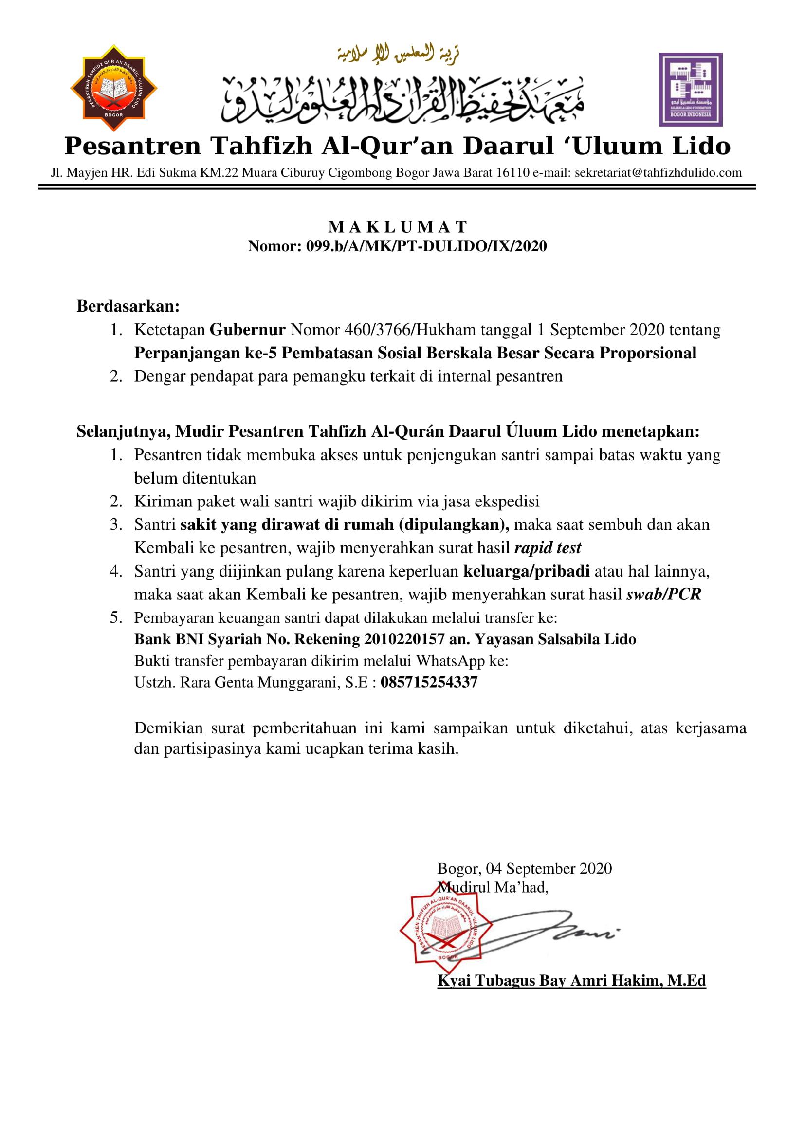 Maklumat Mudir Tahfizh Nomor: 099.b/A/MK/PT-DULIDO/IX/2020