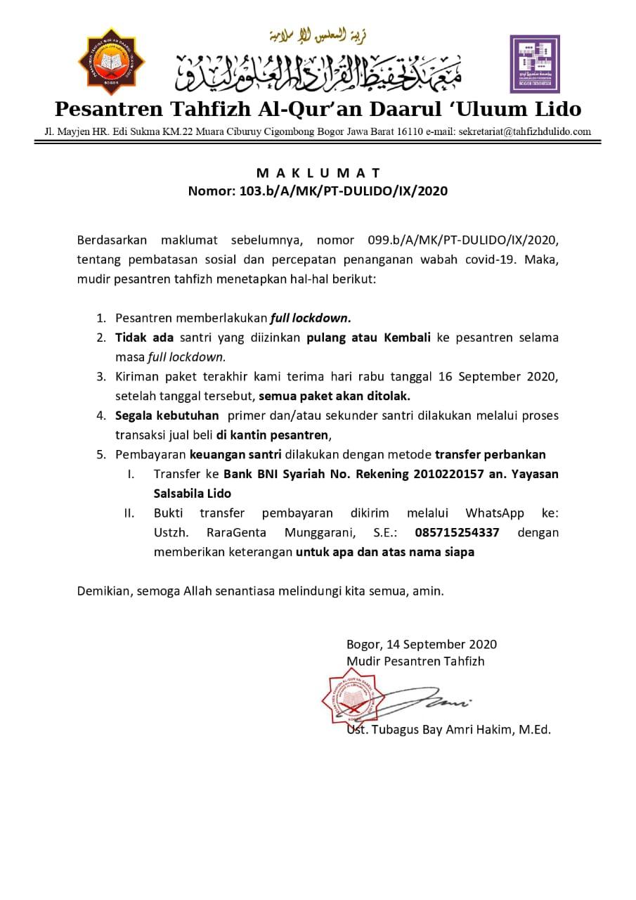 Maklumat Mudir Tahfizh Nomor: 103.b/A/MK/PT-DULIDO/IX/2020