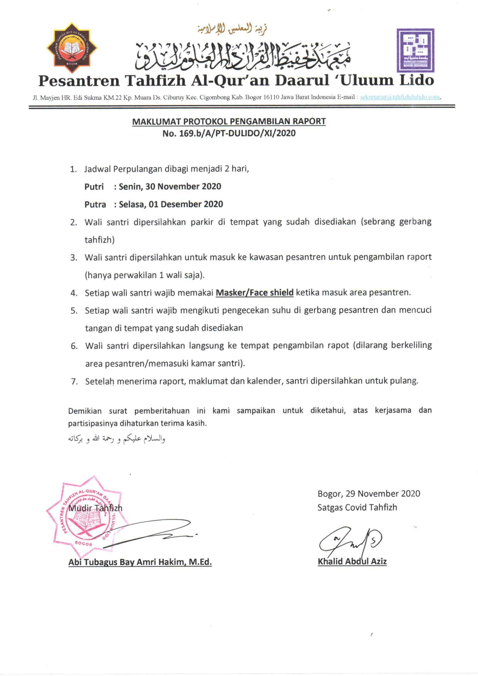 Maklumat Protokol Perpulangan Semester Ganjil 2020/2021